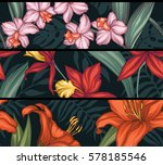 vector tropical leaves and... | Shutterstock .eps vector #578185546