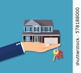 hand with small house and keys  ...   Shutterstock .eps vector #578188000