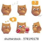set of funny cartoon owls. cute ... | Shutterstock .eps vector #578190178