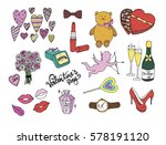 valentines day set. hand drawn... | Shutterstock . vector #578191120
