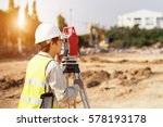 surveyor engineer is measuring... | Shutterstock . vector #578193178
