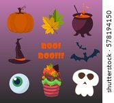 halloween symbols collection... | Shutterstock .eps vector #578194150