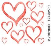 heart love shape pattern set... | Shutterstock . vector #578209744