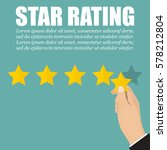 hand with star to rating stars... | Shutterstock .eps vector #578212804