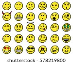 set of smiley icons drawings...