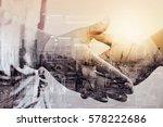 double exposure of business... | Shutterstock . vector #578222686