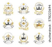 royal crowns emblems set.... | Shutterstock .eps vector #578223694