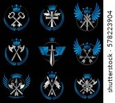 vintage weapon emblems set.... | Shutterstock .eps vector #578223904
