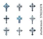 crosses of christianity emblems ... | Shutterstock .eps vector #578224378