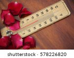 wooden thermometer on the brown
