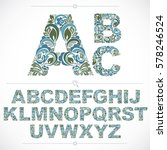 blue floral font  hand drawn... | Shutterstock .eps vector #578246524