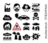 Smog  Pollution Icons Set  ...