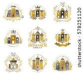 ancient castles emblems set.... | Shutterstock .eps vector #578251120