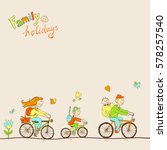 lovely friendly family with two ... | Shutterstock .eps vector #578257540