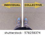 individual vs collective text... | Shutterstock . vector #578258374