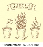 hand drawn garden set of... | Shutterstock .eps vector #578271400