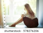 young beautiful sexy woman sits ... | Shutterstock . vector #578276206