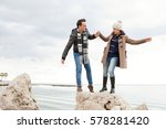young beautiful couple playful... | Shutterstock . vector #578281420