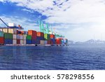 container terminal | Shutterstock . vector #578298556