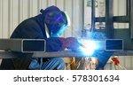 steel worker welding  lots of... | Shutterstock . vector #578301634