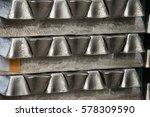 stack of raw aluminum ingots in ... | Shutterstock . vector #578309590