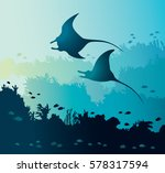 silhouette of two mantas and... | Shutterstock .eps vector #578317594