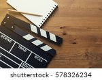 movie clapper on wood table ... | Shutterstock . vector #578326234