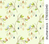 seamless pattern with easter... | Shutterstock . vector #578331040