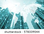 double exposure global world... | Shutterstock . vector #578339044