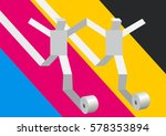 fast printer concept.. two... | Shutterstock .eps vector #578353894