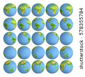 25 frames rotating planet earth.... | Shutterstock . vector #578355784