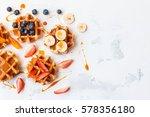 traditional belgian waffles... | Shutterstock . vector #578356180