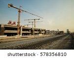 Small photo of train station construction site, Bangkok, Thailand, erection bridge box girder