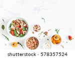 breakfast with muesli ... | Shutterstock . vector #578357524