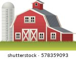 red barn and silo symbol. | Shutterstock .eps vector #578359093
