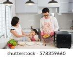 asian family enjoying and...   Shutterstock . vector #578359660