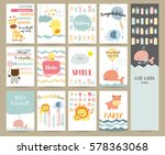 Stock vector pink blue green collection for banners flyers placards with giraffe bear tiger duck whale hippo and 578363068