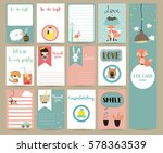 Stock vector pink blue collection for banners flyers placards with tiger bear tree fox sheep and flamingo 578363539