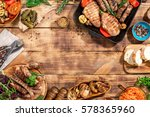 frame of different foods cooked ... | Shutterstock . vector #578365960
