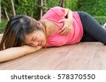 sporty woman having heart... | Shutterstock . vector #578370550