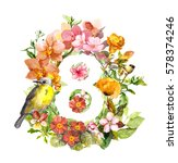 flowers and bird. floral card... | Shutterstock . vector #578374246