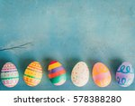 Colorful Easter Egg On Blue...