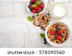 homemade granola with fresh...   Shutterstock . vector #578390560