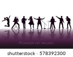 power of music concept. set of... | Shutterstock . vector #578392300
