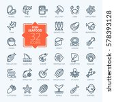 fish and seafood   outline icon ... | Shutterstock .eps vector #578393128