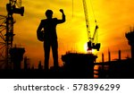 construction site at sunset | Shutterstock . vector #578396299