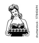 cigarette lady   retro clip art | Shutterstock .eps vector #57840694