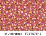 raster hibiscus pattern.... | Shutterstock . vector #578407843