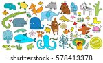 big vector set of cartoon... | Shutterstock .eps vector #578413378