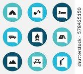 set of 9 editable trip icons....